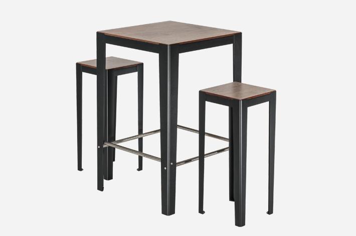 Table haute 2 places solea mobilier urbain aubrilam for Mobilier table haute